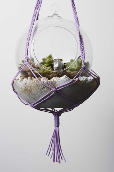Macramé Hanger, Concrete Pot and Terrarium - Make Your Own and take it home!