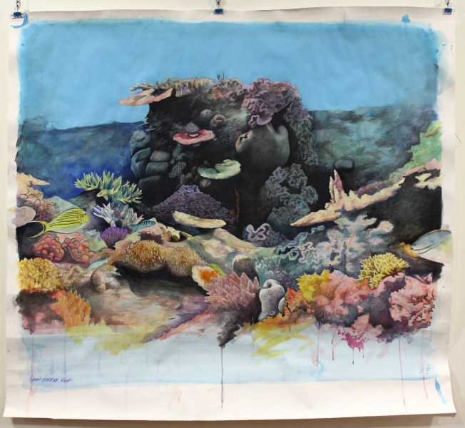 Great Barrier Reef, mixed media on paper 150cm x 134cm (approx.) 2016 by Caroline Esbenshade