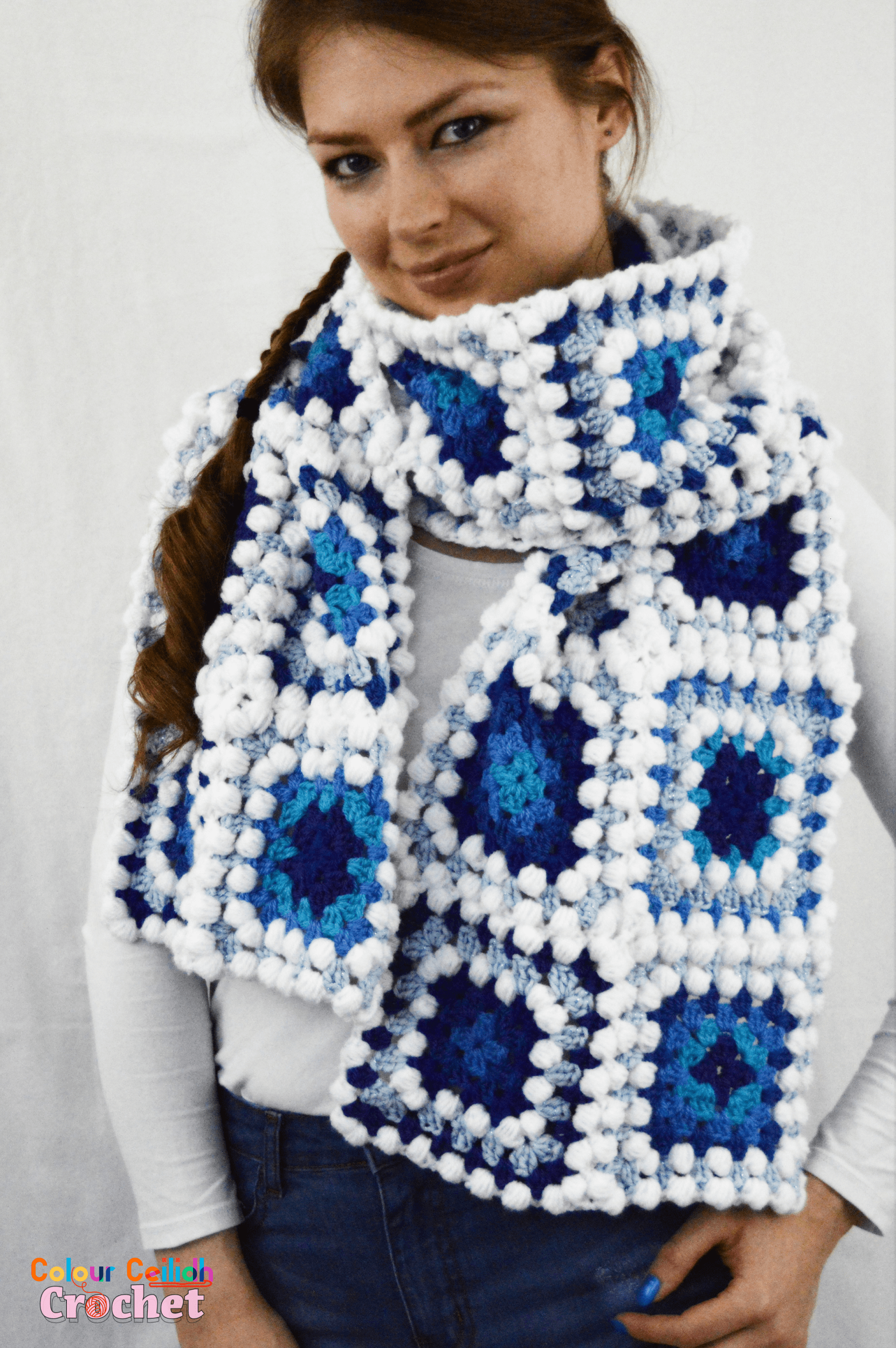 Granny square scarf icy blues free crochet pattern