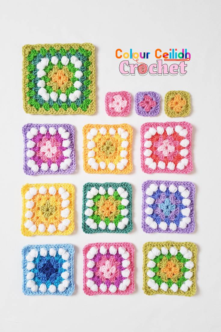 Easy crochet granny squares using the basic granny stitch in beautiful spring colour combinations. Includes the mini granny square pattern. A perfect crochet beginner project!