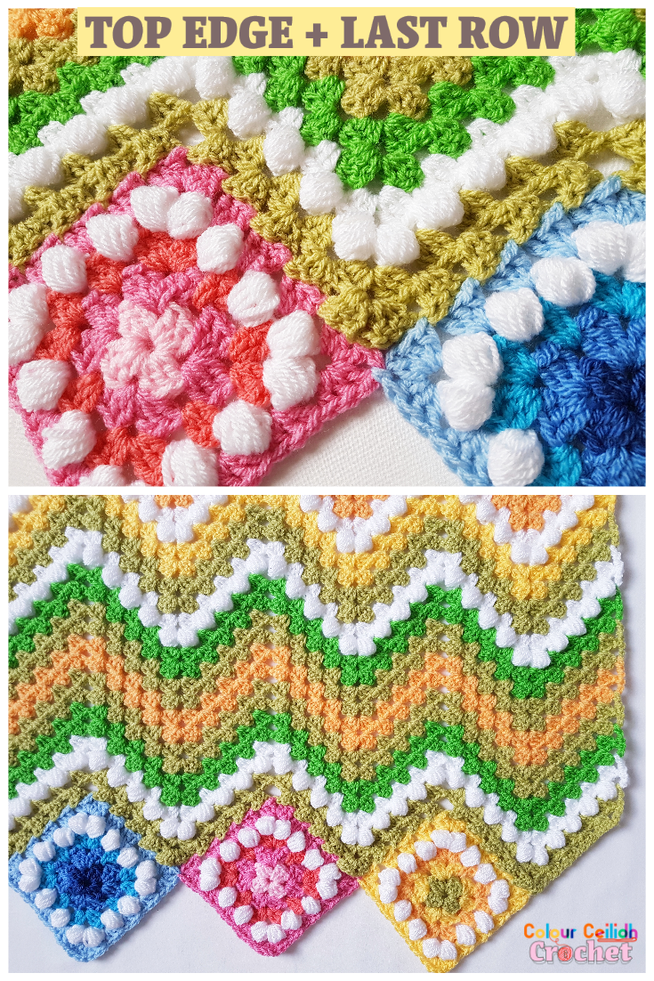 This crochet ripple blanket pattern is great for spring and summer and reminds me of a spring landscape with yellow and pink flowers. A beginner who has never worked a granny stitch or a ripple will find it easy to crochet this blanket thanks to photo tutorials. Make this beginner friendly granny ripple afghan to brighten up a sad looking armchair in the corner and to brighten up your day! #crochetblanket #crochetafghan #crochetblanketafghan #crochetblanketpattern #crochetblanketforbeginners