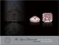 This exclusive book was written for a private collector, to document the history and characteristics of the famous Agra pink diamond.  The Agra diamond is an old Indian stone, presumably from the early 1500s, that has had several notable owners, such as Babur (the first Mogul Emperor), Akbar, Aurangzeb, Muhammad Shah, Nadir Shah, the Duke of Brunswick, Edwin Streeter and Louis Winans.  The stone was re-cut twice, once in the late 1800s to improve the clarity, and again in 1990 to improve the face-up colour.  Today it is a magnificent 28 carat rectangle-octagon shape, modified brilliant cut stone, graded as Fancy Intense pink by the GIA.