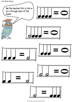 Note values worksheets