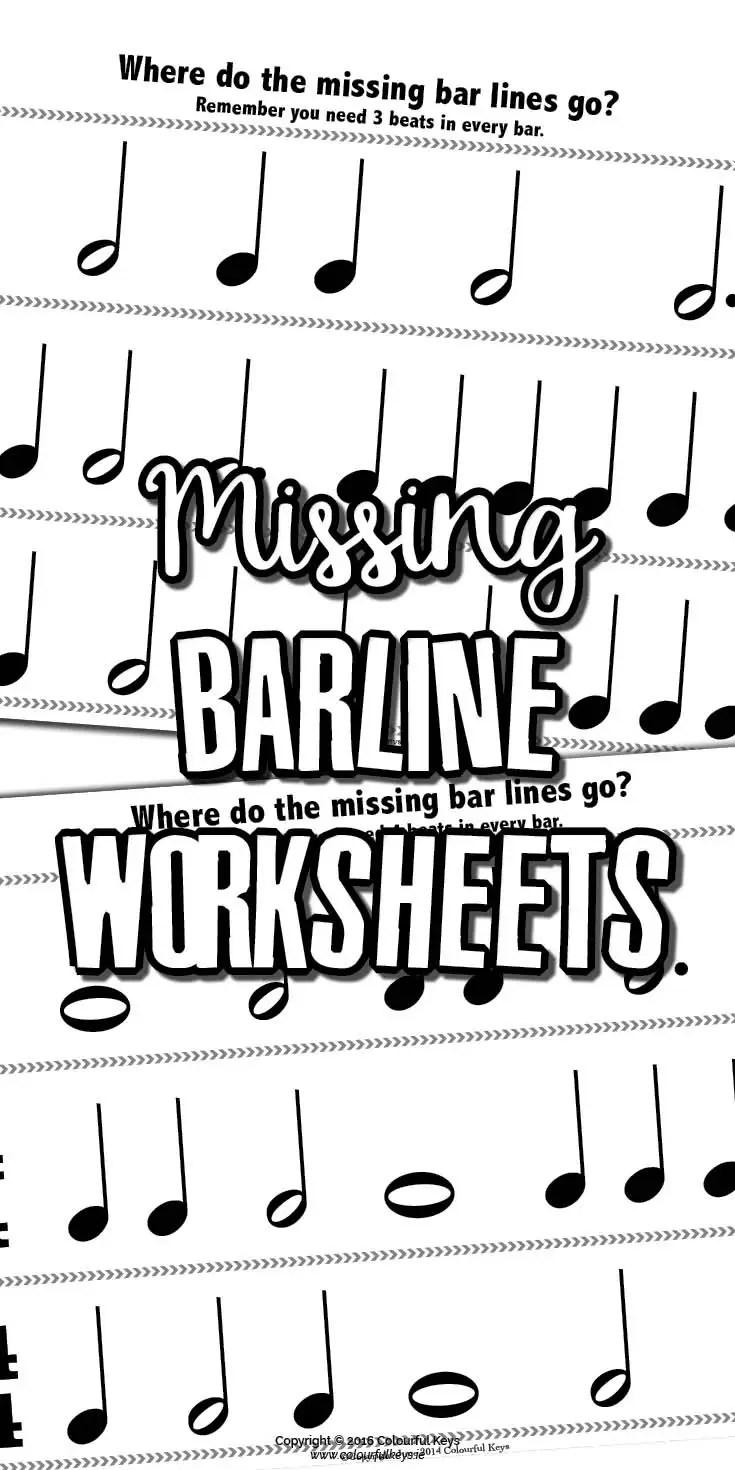 barline worksheets for reviewing beginning time signatures colourful keys. Black Bedroom Furniture Sets. Home Design Ideas