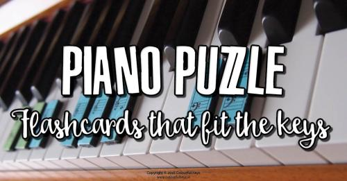 Piano flashcards that fit the keys