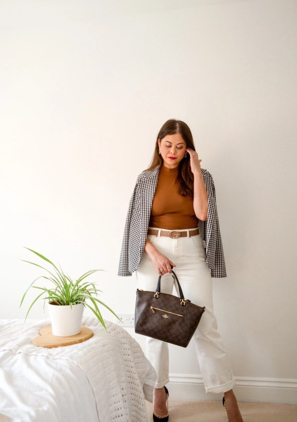 Spring outfit with french style white jeans with brown zara halter top guess belt houndstooth blazer and coach bag