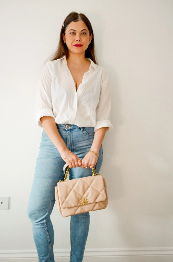 French Style dressing with white shirt, straight fit Jeans , chanel bag and red lips. Parisian style | french girl style