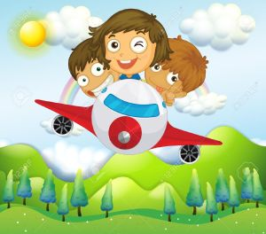 Illustration-of-an-airplane-with-three-playful-kids-Stock-Vector