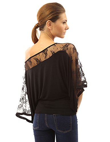 Women's Lace One Shoulder Kimono Sleeve Top by PattyBoutik