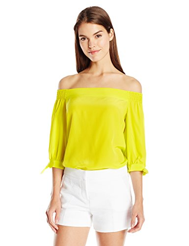 Women's Kandis Solid Silk Crepe De Chine Off Shoulder Top by Trina Turk