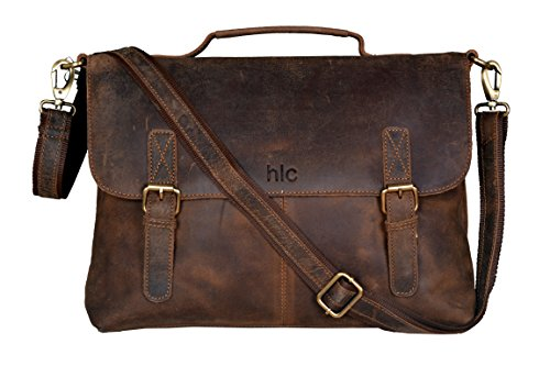 "New 16/"" Men/'s Buffalo Soft Leather Satchel Messenger Handbag Shoulder Laptop Bag"
