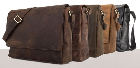 Wowbox Messenger Satchel bag for men and women,Vintage canvas real leather 14-in