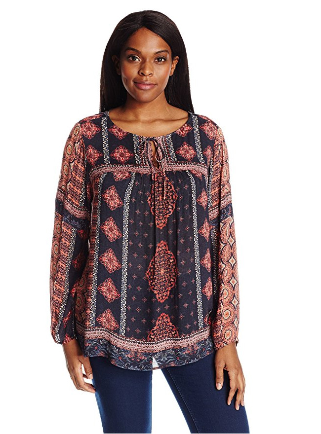 NYDJ Womens Collection Plus SZ Mixed Print Peasant Blouse Pick SZ//Color.