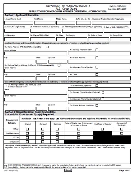 MMC Application form 719B