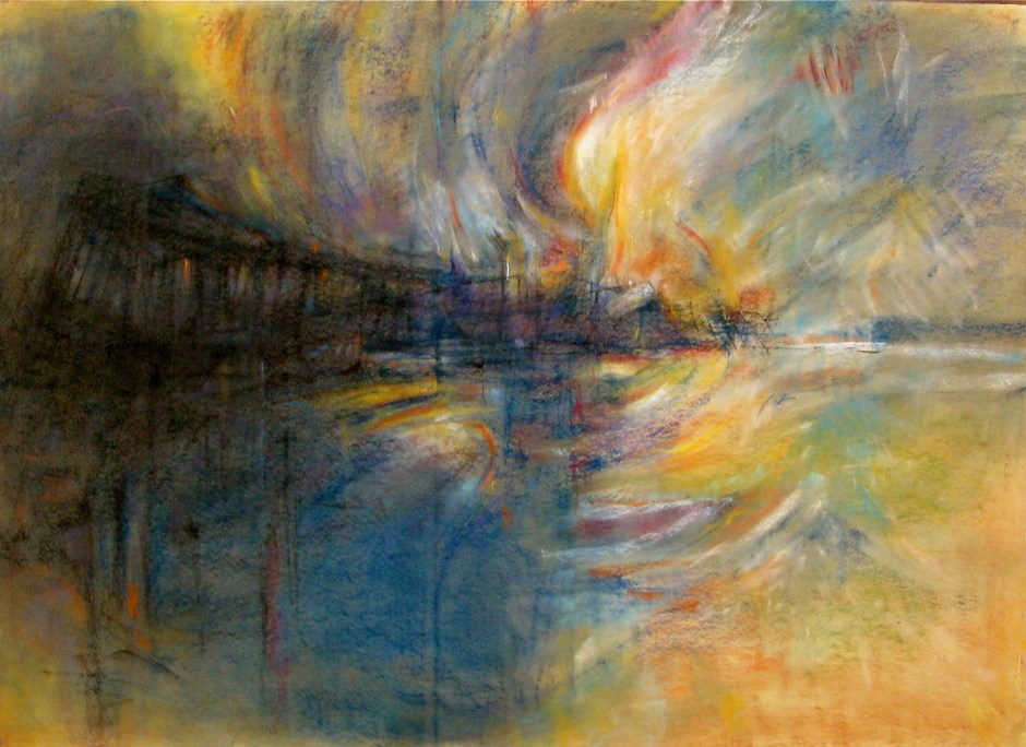 """Burning Pier"" by Bob Ziering. Courtesy of the artist."