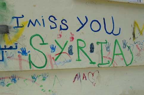 A heartbreaking sign at a refugee camp in Greece.