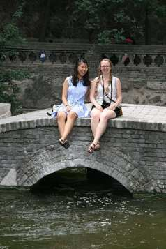 Yoyo Yang and Savannah Kimble at a famous movie site in Xi'an, China