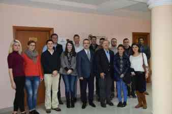 With Albanian students in front of the school's new law clinic.