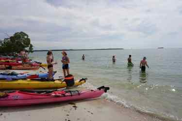 Students prepare to take the plunge in Florida waters during break.