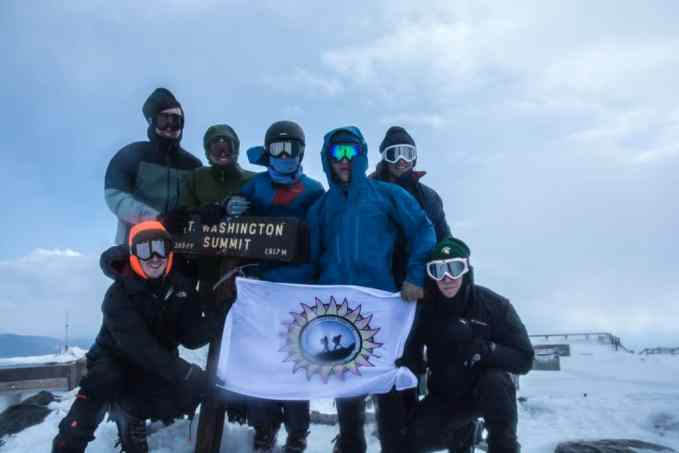 On top of Mount Washington. Clockwise from left: Thomas Mottur, J.T. Schexnayder, Matthew Rickert, Bethany Reitsma, Mikey Barro, Edward Calley and Duncan Manley