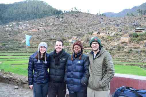 Despite its remote location, several W&L alumni converged at the Oda Foundation in January. From l. to r.: Becca Dunn '16 joined Oda in September 2016 as a community health/research fellow; John Christopher '09; Blaise Buma '13 visited Oda from his base at Bejing, China, where he is in the Shwartzman scholars program; and Dr. Sam Brusca '10, who is in the midst of his medical residency at John's Hopkins and is at Oda with his finacée as a part of their away rotation.