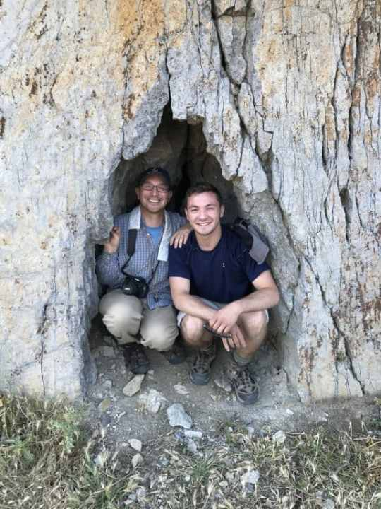 Geology Prof. Jeffrey Rahl poses with Josh Fox '19, a Geology and Anthropology major who helped Rahl with summer research in 2017.