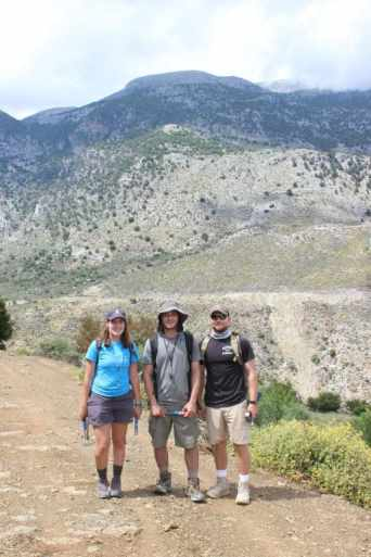 Chantal Iosso '20 (left) in Crete, Greece with fellow students for summer geology research.