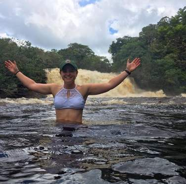 Enjoying one of the many waterfalls in Brazil