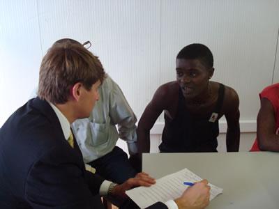 Ryan Decker '09L conducts interviews in a Liberian prison.
