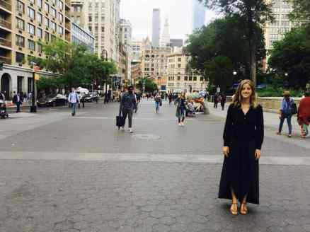 Sara Dotterer '18 stands outside her New York apartment, in an area where she did a lot of filming for her independent anthropology project during a summer that also involved an internship with artist Taryn Simon.