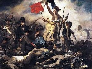 """""""A Liberdade Guiando o Povo"""", por Eugène Delacroix."""