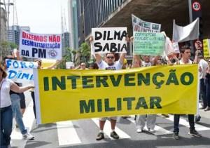 Manifestante usando da democracia para pedir ditadura.