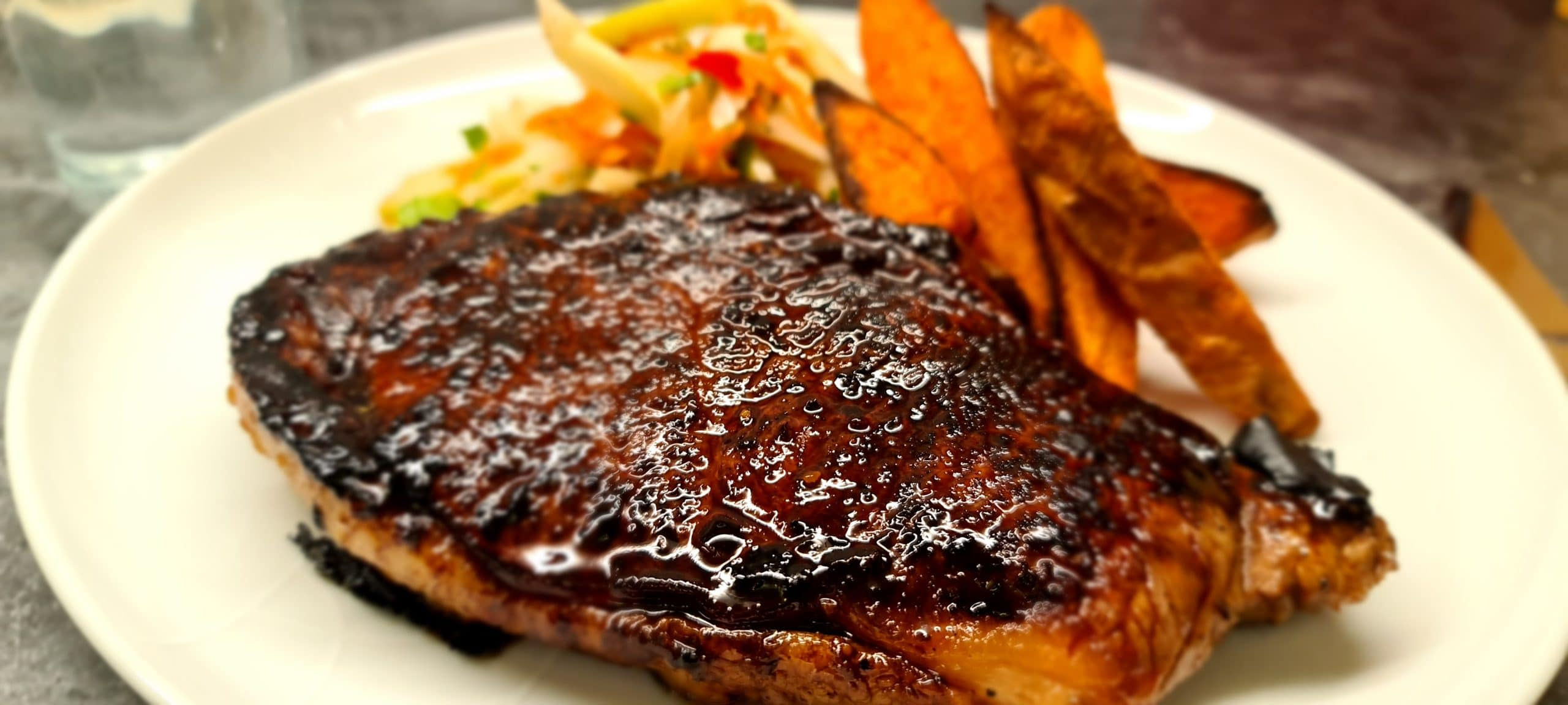 You are currently viewing Teriyaki Steak with Fennel Slaw and Sweet Potato Wedges
