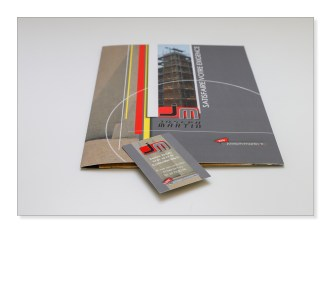 Création plaquette / porte document carte de visite - sur mesure pour TPE-PME - secteur bâtiment