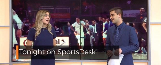Madison Brown and David Perez hosting SportsDesk