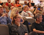 """The audience watching """"Sweet Malady"""" in Shoma Hall at the School of Communication."""