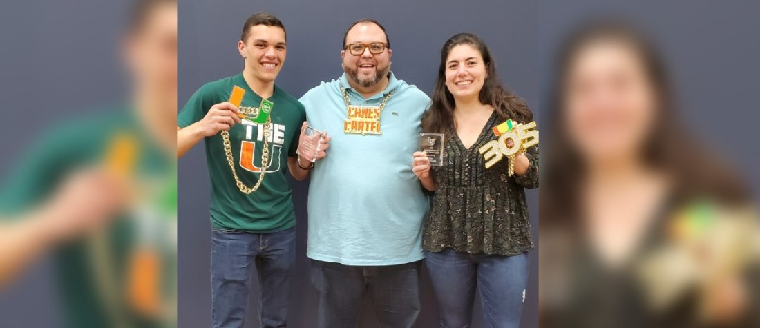 Policy debate team Vice-President Zach Homeijer, (left), Debate Co-Director Patrick Waldinger (center) and Policy debate team President Julia Lynch (right), enjoying their recent victories at the Liberty University Tournament in Lynchburg, Virginia