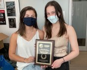 Julie Erhardt and Julia Hecht, winners of the national 2020 Drug Enforcement Administration (DEA) Red Ribbon Week Campus Video PSA Contest.