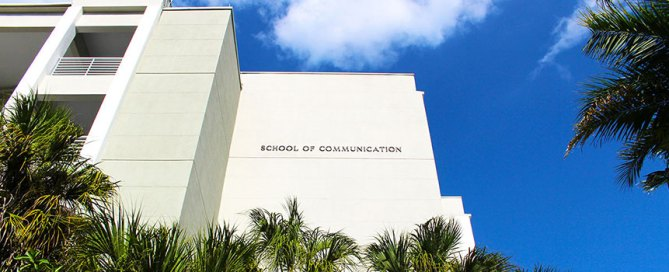 The School of Communication building on a sunny day.