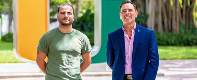 Zachary Danney, left, is president of the Veteran Students Organization (VSO), and Jack Miller is an assistant professor of professional practice in the School of Communication and VSO advisor. Photo: Jenny Hudak/University of Miami