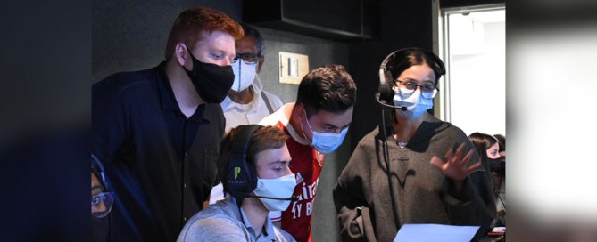 From left to right: Tyler Walsh, Ben Ezzy, Spencer Askinazy, and Jenna Weiss working in the control room during a NewsVision broadcast. Photo courtesy of Tyler Walsh.