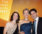 The award Ceremony of PIEoneer Awards: (Ali Habashi with Amy Baker (middle) and Clare Gossage (left), CEO and Co-Founder of PIEoneer Awards)