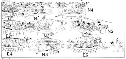 Fig. 4: Stages in the Battle of the Delta, as identified on the relief from Medinet Habu. E.1 and N.1 depict Egyptians throwing grappling hooks into sails and boarding the vessels of the Sea Peoples (adopted from Nelson 1943: 40-55, fig. 4; Cornelius 1987).