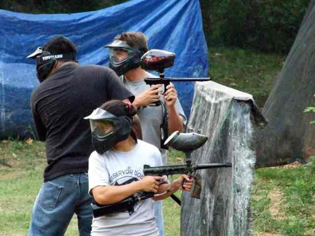 Paintball players ready for the game