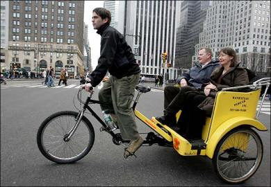 Bicitaxis legales en Nueva York. Imagen tomada de nycpedicab.wordpress.com