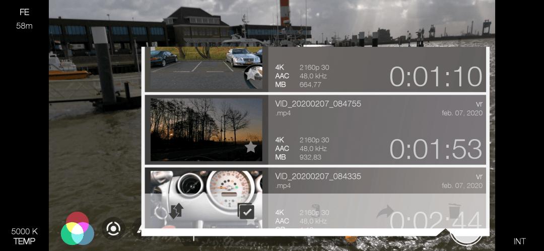 Voorbeeldfoto van het scherm waarop je een opname kan kiezen die je wilt bekijken met de FiLMiC Pro app.