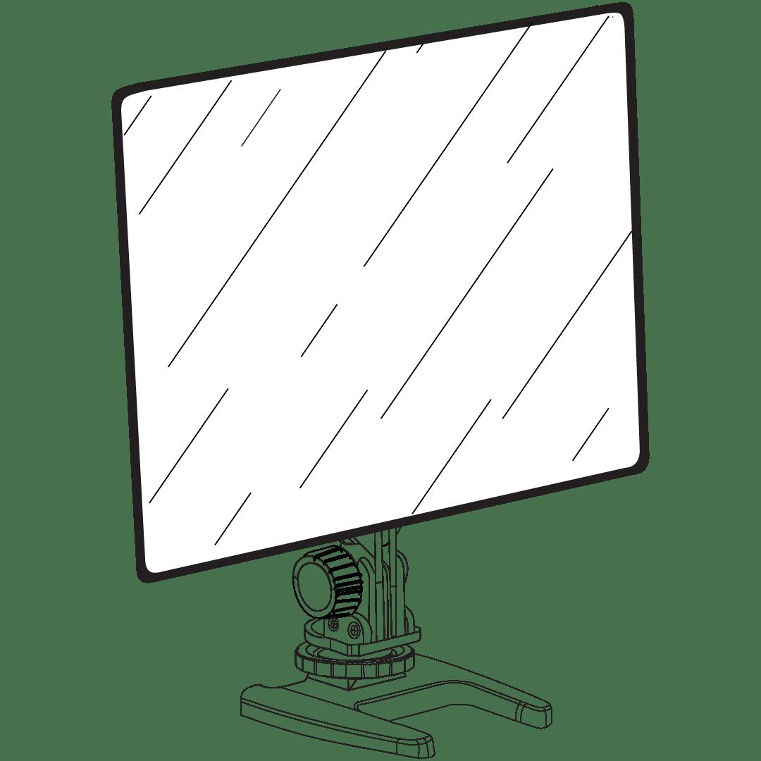 Tekening van een Yongnuo YN300 Air LED voor video.