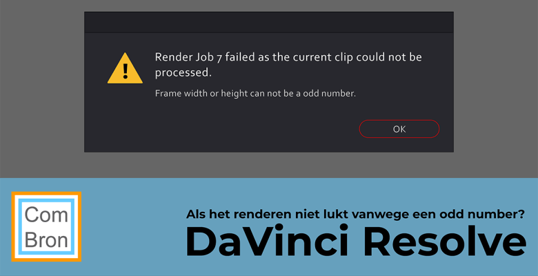Melding Render Job failed as the current clip could not be processed. Frame width or height can not be an odd number in DaVinci Resolve.