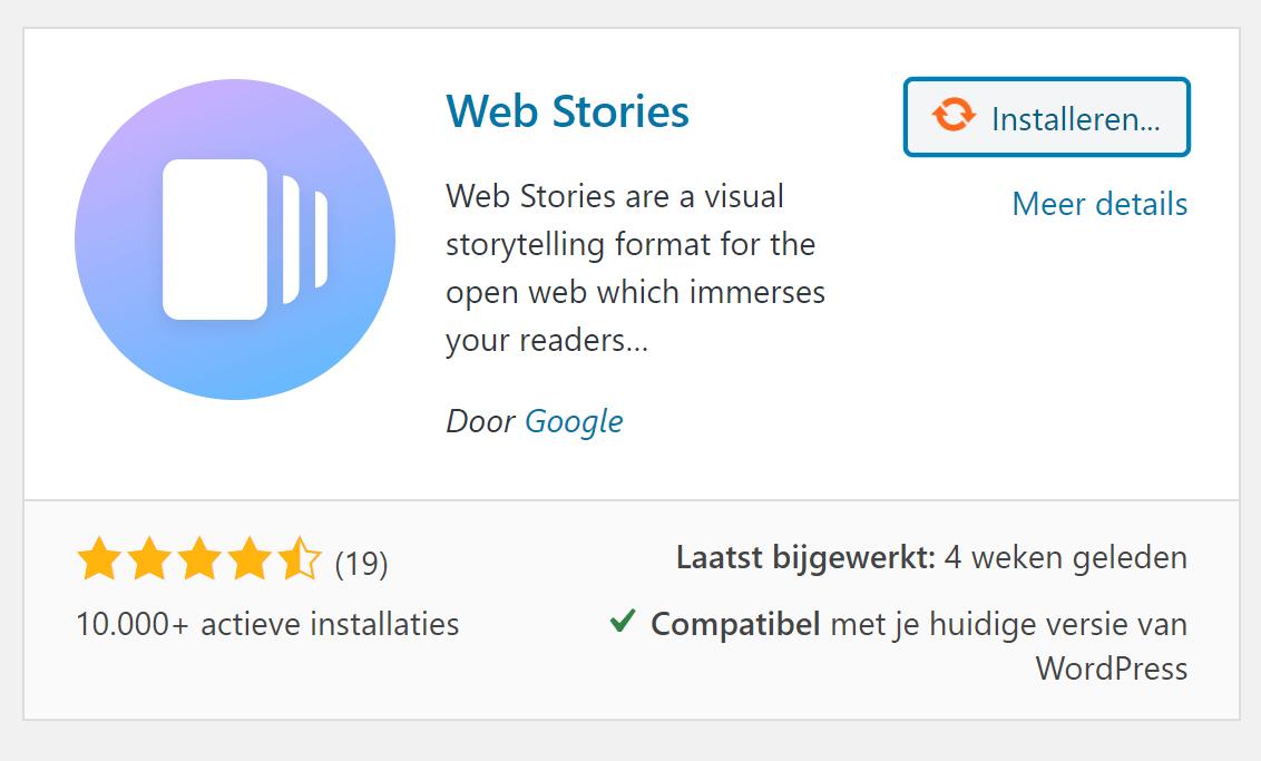 Web Stories plugin voor WordPress installeren.