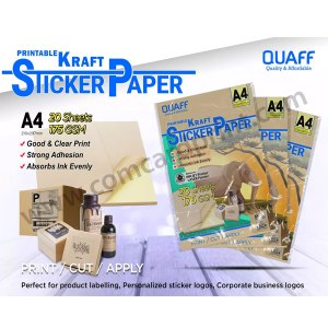 Quaff Printable Kraft Sticker Paper A4 size 175gsm (20 Sheet) | 2 packs